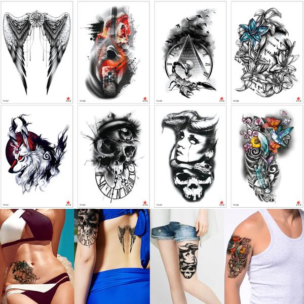 Tribal Black Body Art Tattoo Wing Skull Women Flower Birds Scorpion Designs Fake Temporary Arm Back Leg Waist Sleeve Tattoo Sticker Ink 2019 Create