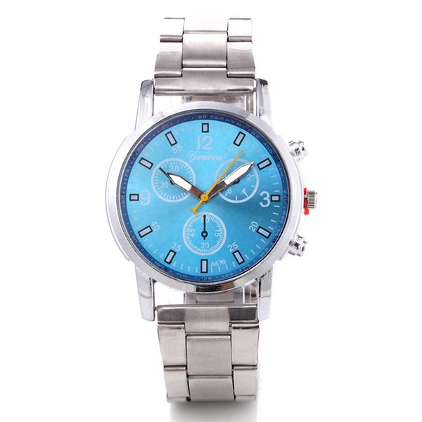 2019 New men's fake three-eye six-pin waterproof steel strap steel chain men's watch multi-functional business watch