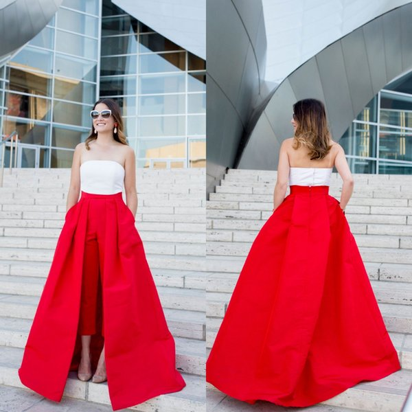 Vintage Women's Jumpsuit with Long Detachable Train Red Evening Dresses with Pockets Sleeveless Prom Dress Pants Party Dress Vestidos Festa