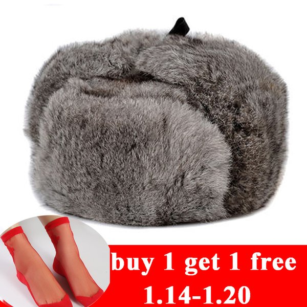 RY996 Rabbit Fur Cap Man Winter Genuine 100% Fur Bomber Hat With Warm Earmuffs Male Flat Grey/Black Russian Hat Fitted Casquette D19011503