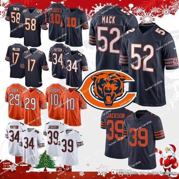 29f89d74dab Mack Chicago Bears 52 khalil 39 jackson 10 Mitchell Trubisky 54 Brian  Urlacher 58 Roquan Smith 34 Walter Payton 17 jersey Miller