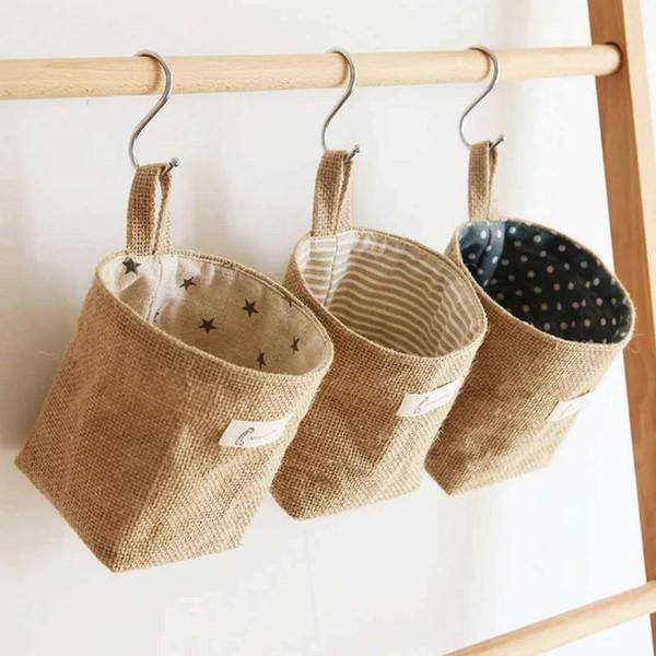 Newest Non Woven Dot Small Storage Sack Cloth Hanging Storage Basket Fabric Storage Bag Home Organizer