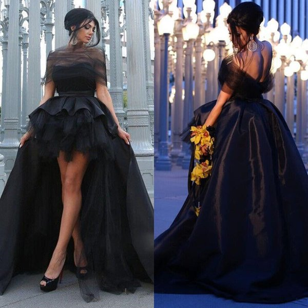 Hot Sale 2019 High Low Ruched Tulle Satin Prom Dresses Off Shoulder Sexy Backless A Line Evening Party Formal Gowns