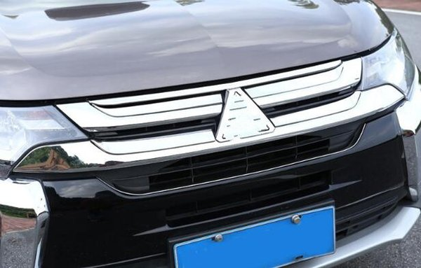 High quality stainless steel 6pcs car up grill decoration trim,decoration cover for Mitsubishi outlander 2016-2019