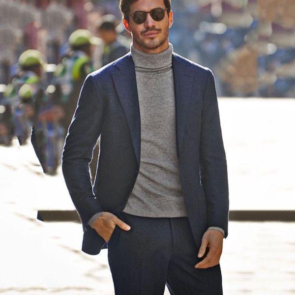 Mens Suits 2019 Slim Fit Classic Grey Tweed Suit Men Tuxedo Business Terno Masculino Custom Casual 2 Piece Suit For Men Hombre