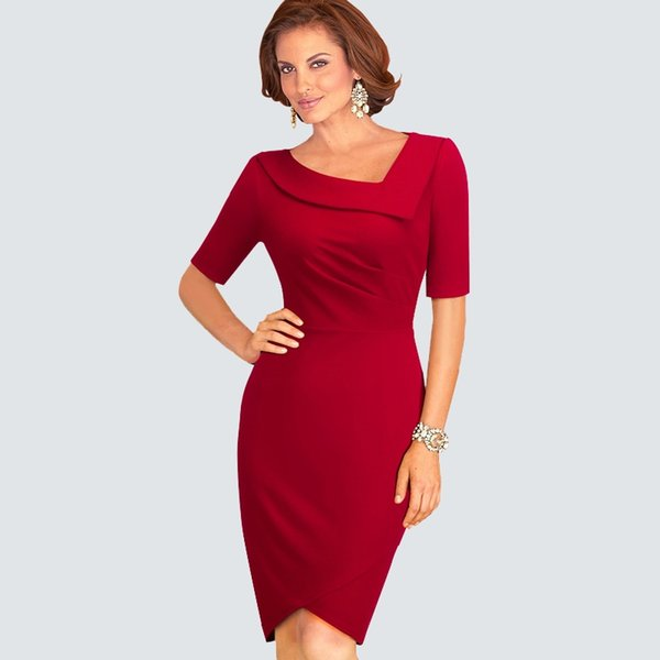 Casual Summer Short Sleeve Draped Work Office Business Dress Women Elegant Sheath Bodycon Pencil Dress HB327 #396983