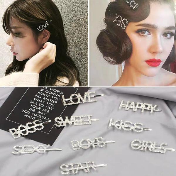 Forcine di cristallo Unico lettera Barrettes Hairwear Hair Clip For Girl Accessori per capelli da donna Wedding Party HairPins