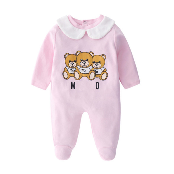 Infant Cartoon Bear Baby Clothes Girl&boys Long Sleeve Daddy Mummy Baby Rompers Babygrow Sleepsuits Baby Romper 0-18 Months Y19050602