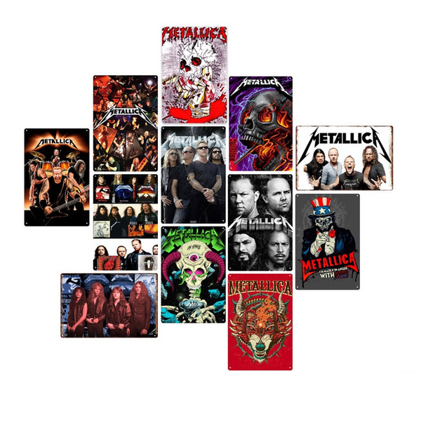 best selling Rock Band Tin Signs Metallica Vintage Wall Art Retro Tin Signs Old Wall Metal Painting Art Bar Home Decoration TTA1616