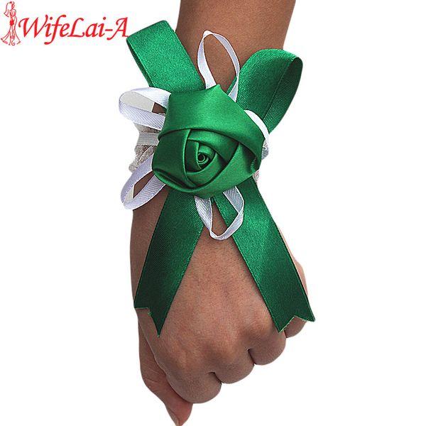 Wifelai-a Customized Simple Green Rose Flowers Wrist Flowers Bride Marriage Wedding Ribbon Corsage Wrist Hand