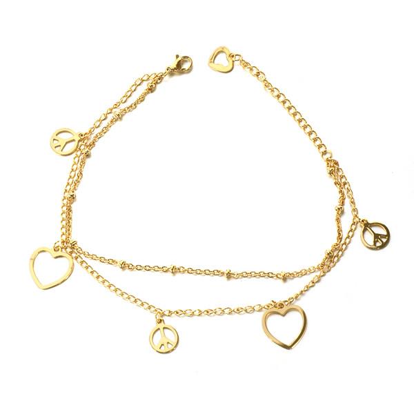 Fashion New Products 14k Gold Heart Bracelet Stainless Steel Never Lose Color Peace Sign Symbol Charm Bracelet Women Gold Link Bracelet