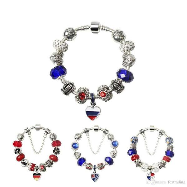 JewelryStore999 Dünya Kupası Kadınlar Için Yeni Popüler Charm Bilezik Chamilia Boncuk Orijinal DIY Takı Dekorasyon Fit Dünya Kupası Bayrağı Bilezik