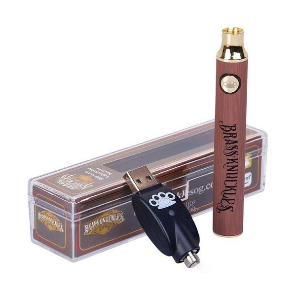 510 Kartuşunda Brass Knuckles Ön ısıtma Pil 650mAh 900mAh Vape Kalem Değişken Voltaj Usb Şarj Pil