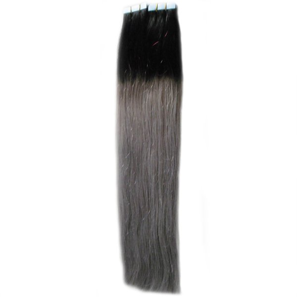 Ombre Color Real Remy Tape In Human Hair Extensions 40pcs/lot skin weft tape hair extensions