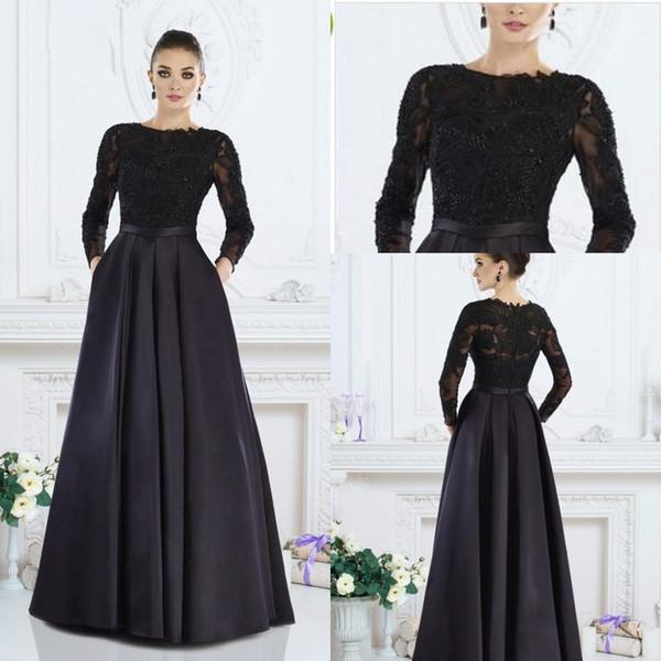 Negro Madre de manga larga de los vestidos de novia 2019 Cuello de joya Aplique Satinado Talla grande Invitado de boda Vestido de noche Vestidos de fiesta formales