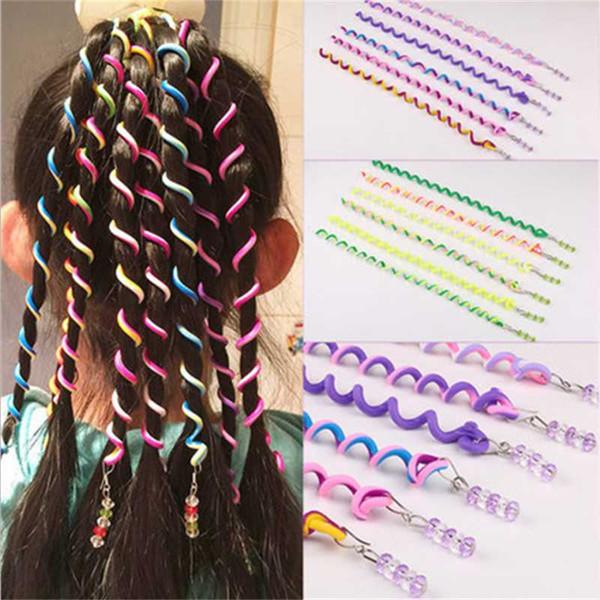 6 unids / lote Rainbow Color Cute Girl Curler Hair Braid herramientas de peinado del cabello Braid Mantenimiento La princesa accesorio