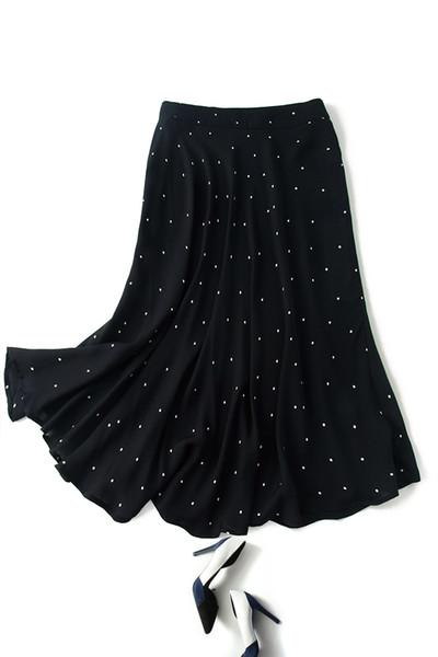 Super temperament! Fashion Point-point Printed Double Joe Black Silk Half Skirt Female 2019 Spring New Model
