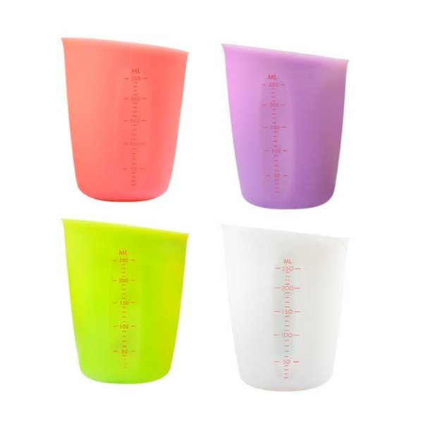 hot 250ML Silicone Kitchen Measuring Cups Home Double-scale Semi-permeable Measuring Tools Milk Cup Batter dispensing cups T2I5226