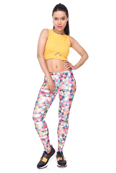 Girl Leggings Work Out Triangle Multi 3D Graphic Print Comfortable Trousers Woman Workout Pencil Pants Lady Full Length Pencil Fit (Y34260)