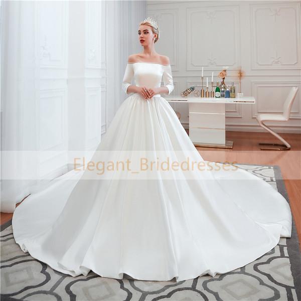 Royal Wedding Dresses 2019 Long Sleeve Boat Neck Satin Wedding Gown Elegant Princess Ball Gown Chapel Train Vestido de Noiva