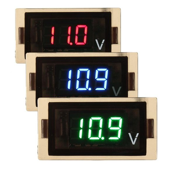 DC8-18V LCD digital voltímetro impermeable LED voltímetro medidor de voltaje medidor para motocicleta azul / rojo / verde pantalla