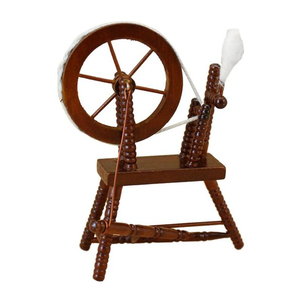 1:12 scale doll house miniature hand reeling machine wooden spinning wheel thumbnail