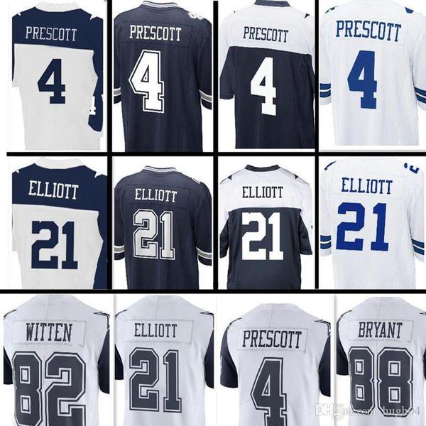 more photos c1888 3f7a5 Compre Hombres Dallas # 4 Dak Prescott 21 Ezekiel Elliott 88 Dez Bryant  Jersey Hombres Elite Juego Color Rush Jersey Cosido Jerseys Vaqueros A  $22.34 ...