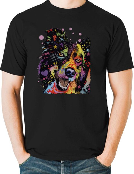 Happy Border Collie T Shirt Neon Bright Graphic Dog Mens Small to 6XL & Big Tall Short Sleeve Plus Size t-shirt