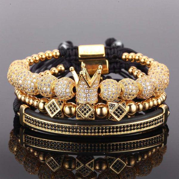 top popular 3pcs set couple bracelet stainless steel beads crown 2018 for lovers bracelets for women men luxury jewelry man pulseira bileklik 2021