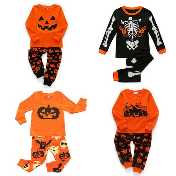 Einzelhandel 5 Arten Kinder Halloween Trainingsanzug Cartoon Kürbis Schädel gedruckt Baumwolle 2pcs Hose Set Jungen Mädchen Outfits Nachtwäsche Pyjamas Kleidung