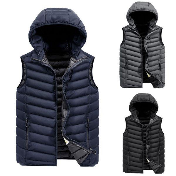 hip hop dos homens Outono Inverno Zipper streetwear Hoodie Colete Vest Jacket Top homens casaco jaqueta hombre masculino chaqueta