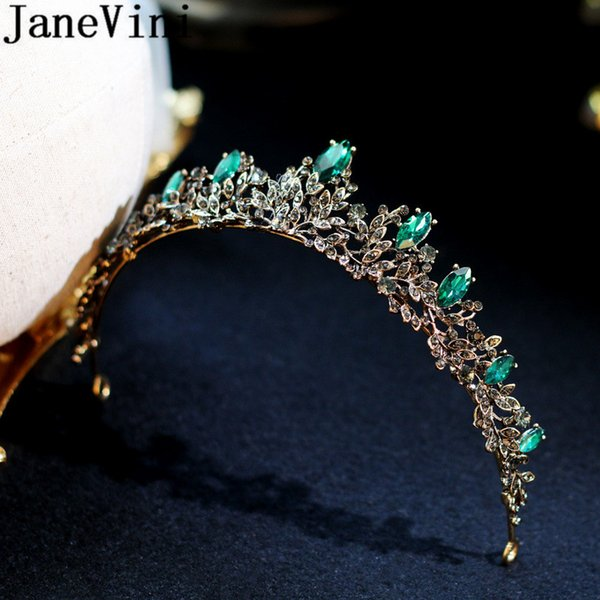 JaneVini Green Crystal Crown for Women Brides Baroque Headpiece Wedding Bridal Hair Accessories Black Tiaras Headband Party Hair Jewelry
