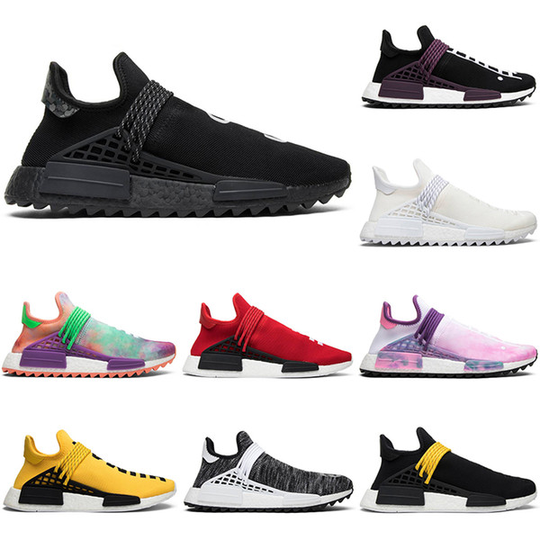 Hot Sale Human Race Pharrell Williams Running Shoes Men Women Hu Trail Blank Canvas NERD black oreo designer mens Trainers Sports Sneakers