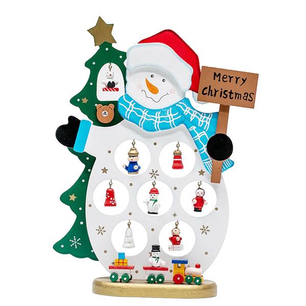 Christmas Decoration Red Wooden Ornament Santa Claus DIY Desk Home happy new year 2019 camiseta santa claus