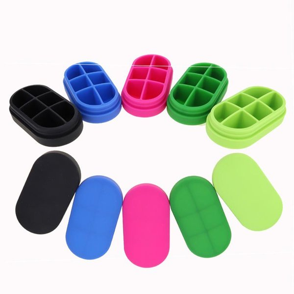 Newest Vessel Colorful Big Capacity Nonstick Oval Containers Herb Pill Silicone Box Food Grade Jars Portable Smoking Pipe Tool Hot Cake DHL