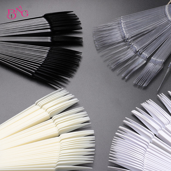 best selling Stiletto Nail Swatches Sticks Fan-shaped Nail Art False Tips Color Card Gel Nail Polish Display Board Detachable Practice Sticks Wheel