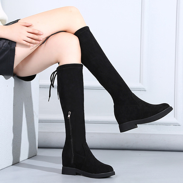 Retro High Slip-On Over-the-Knee Long Boots for Women Round Toe Microfiber Solid Autumn Winter Thigh Boots Wedges Platform Shoes