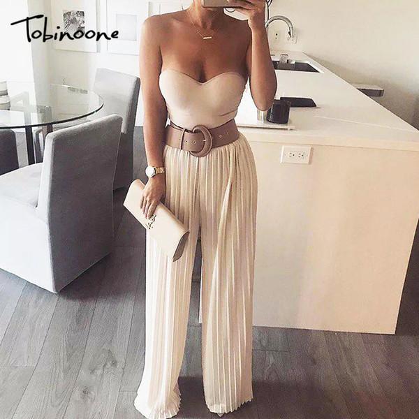 Cinta plissado larga perna macacão mulheres cintura alta oversized jumpsuit casual outono inverno rua plus size