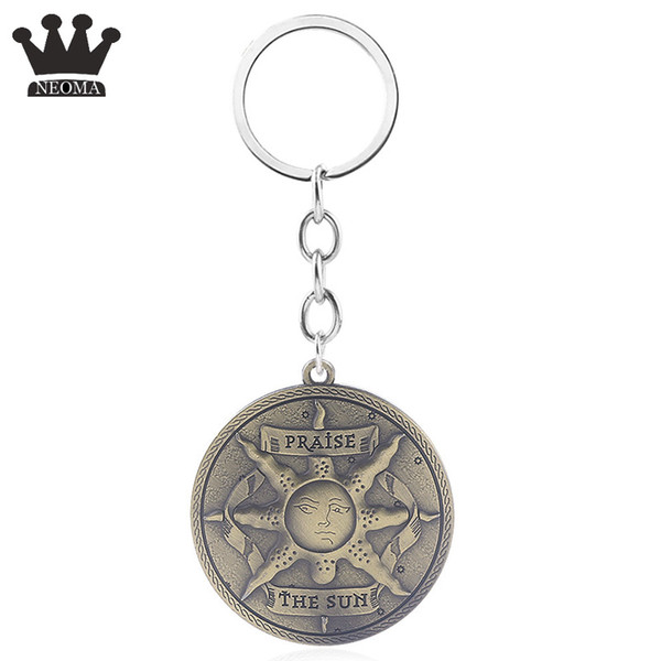 2019 Dark Souls 3 Abzeichen Keychain Auto Keychain Halter Anhänger Sun Knight Logo Hohe Qualität schlüsselanhänger Für MenWomen Schmuck