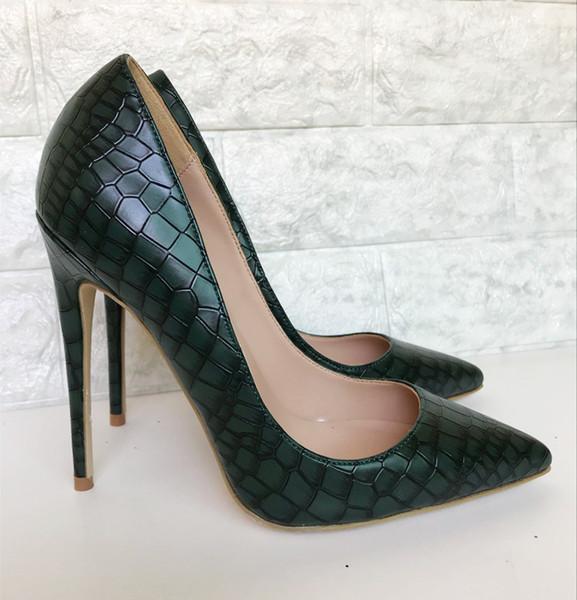 2019 frete grátis moda feminina lady sexy verde da marinha de couro python Toes Poined alta HEELED saltos sapatos de salto Stiletto sapatos bombas 12 cm 10 cm
