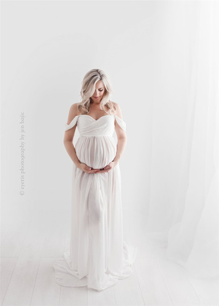 best selling Maternity Dress Slip Open Chiffon Maternity Photography Props Maxi Gown Dresses Sweet Heart Pregnant Women Baby Shower Gift