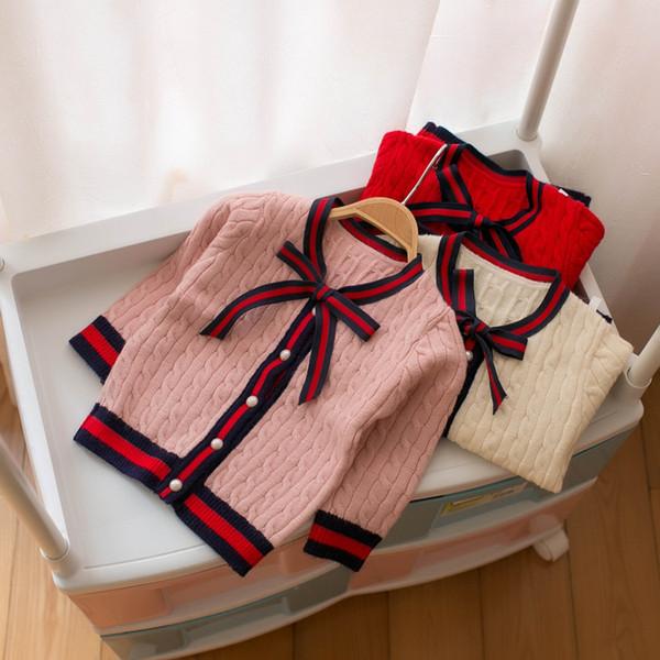 2019 nouveau-né bébé pull en tricot enfants filles cardigan tricots tops manteau printemps automne coton enfants vêtements survêtement hiver vêtements pour bébés