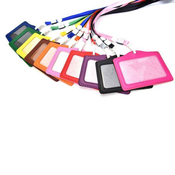 Mulheres Homens Nome Titulares de Cartão de Crédito PU Cartão de Banco Pescoço Cinta Titulares de cartão de IDENTIFICAÇÃO Doces cores crachá de identidade com cordão 10.3 * 8 CM 10 pçs / set
