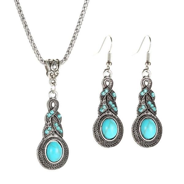Ethnische Blue Stone Jewelry Sets tibetischen Silber Türkis Halskette Ohrring Schmuck