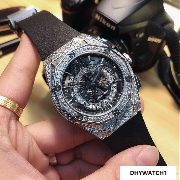 silver diamond bezel Chronograph hot men watch auto date QUARTZ sport luxury fashion new Stainless steel mens watches