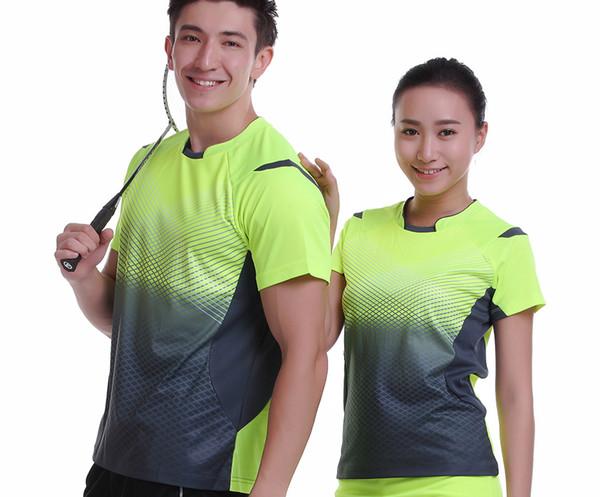 Camicia di badminton traspirante Quick Dry Sportswear nuova, donne / uomini vestiti da tennis da tavolo squadra gioco manica corta T-shirt