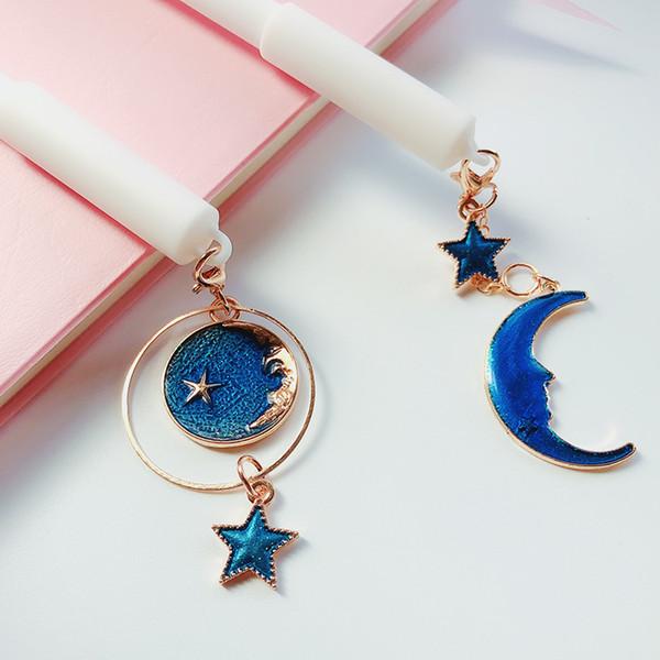 0.38mm Blue Starry Sky Star Moon Pendant Gel Pen Kawaii Stationery Black Ink Pen Girls Favor WJ069