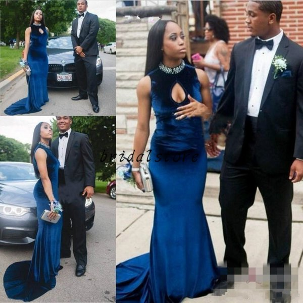 Stylish Velvet African Mermaid Prom Dresses Tight Sexy Opened Front Rhinestone Crystal High Neck Elegant Evening formal Gowns Keyhole Sleeve