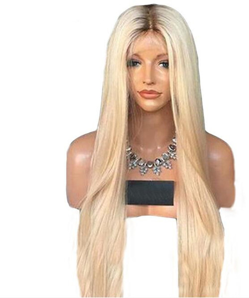 Straight 4t 613 Glueless Full Lace Wigs Remy Human Hair with Baby Hair Ombre 4T 613 Dark Roots Blonde for Black Women