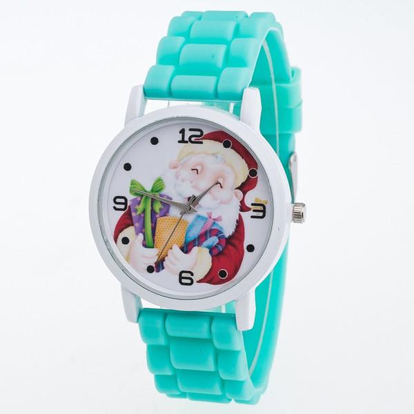 Women Girl Christmas Quartz Watch Silicone Watch Strap Santa Pattern Colorful Wristwatch Best Christmas Gift for Friends Kids B1